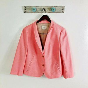 LOFT 12 Bright Pink Blazer Faux Pockets 3/4 Sleeve